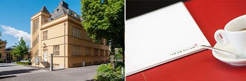 """Header zur Seite """"Schwerpunkte"""": Das Geschäftsgebäude von aussen und Geschäftsausstattung."""
